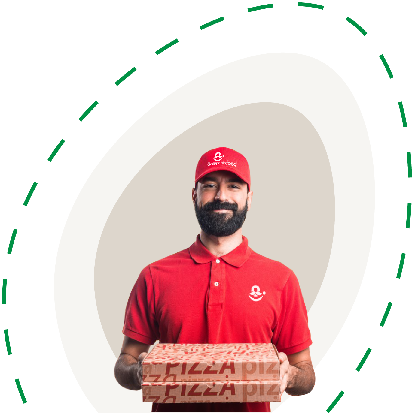 delivery man campania food withe pizza